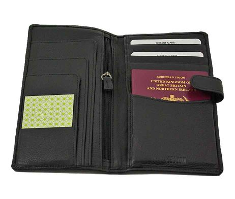 Easton Travel Wallet Black Leather with passport