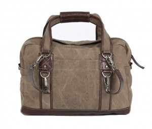 BRYHT Lydden briefcase pannier in Khaki Canvas Back Straps Clipped On