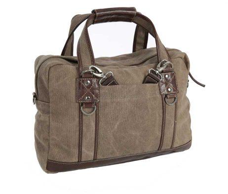 BRYHT Lydden Briefcase Pannier in Khaki Canvas Back Straps Stowed