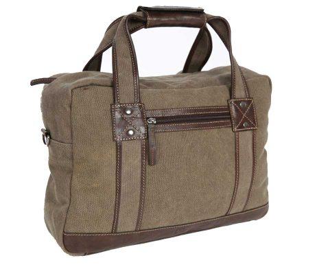 BRYHT Lydden briefcase pannier in Khaki Canvas - Front