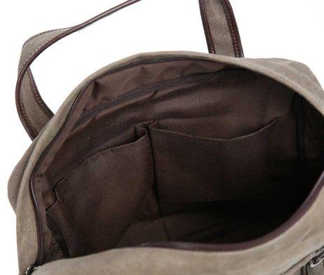 BRYHT Lydden briefcase pannier in Khaki Canvas - Interior Detail