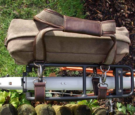BRYHT Lydden Bike Pannier Briefcase Khaki Canvas
